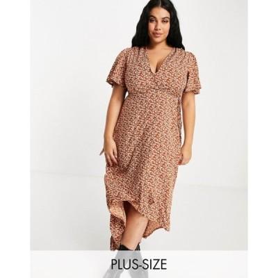ミスガイデッド レディース ワンピース トップス Missguided Plus midi wrap dress with high-low hem in rust