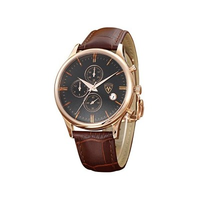 Micosum Men's Rose Gold Stainless Steel Watch Brown Leather Band Working Chronograph Quartz Wristwatches 並行輸入品