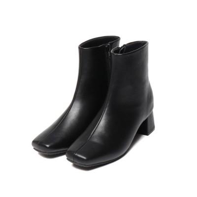 ブーツ 安定感ある履き心地【EVOL】スクエアショートブーツ IN9080