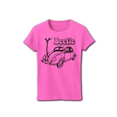 自動車のビートル リブクルーネックTシャツ(ピンク)