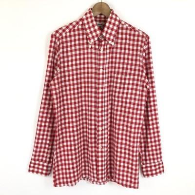 古着 MAGES チェックシャツ ギンガムチェック 70年代 ヴィンテージ 長袖 レッド系 メンズM 中古 n021155