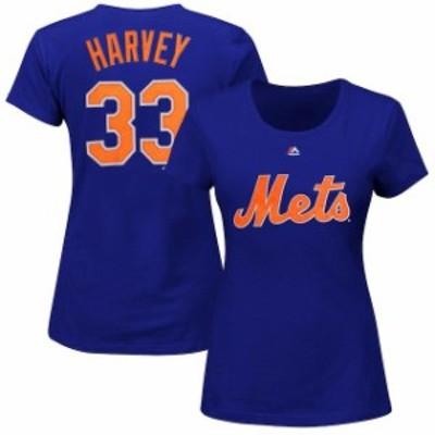 Majestic マジェスティック スポーツ用品  Majestic Matt Harvey New York Mets Womens Royal Name and Number T-Shirt