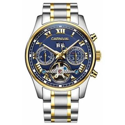 【送料無料】CARNIVAL(カーニバル) 8728G メンズ 自動巻 腕時計 [ネイビー/ゴールド/メタルバンド]アナログ 機械式 クロノグラフ スケル