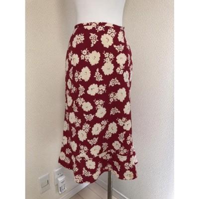 インエ春夏フェミニンさらさら膝下スカート赤花柄M