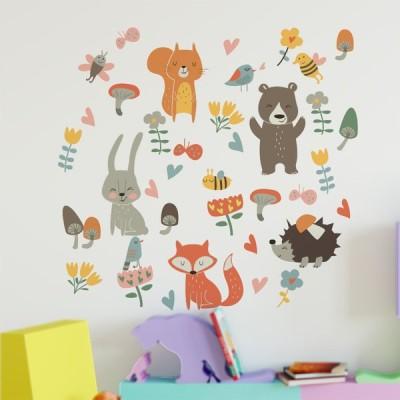 森の動物 壁 ステッカー キツネ ウサギ 子供部屋 ベビー 保育園 ホームデコレーション キッズルーム デコ 装飾 DIY