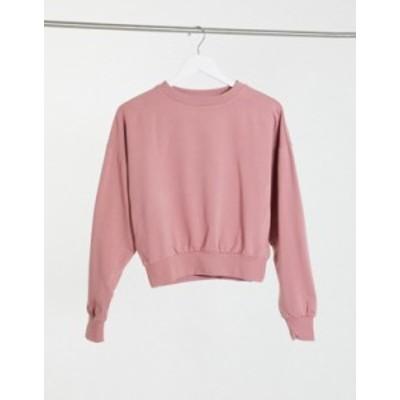エイソス レディース シャツ トップス ASOS DESIGN super soft cropped batwing sweatshirt in pink Mink