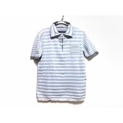プラダスポーツ PRADA SPORT 半袖ポロシャツ メンズ ライトグレー×ブルー×グレー ニット/ボーダー【中古】20200805