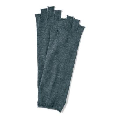 ベルメゾン 指先フリーなウール100%5本指ロング手袋 グレー
