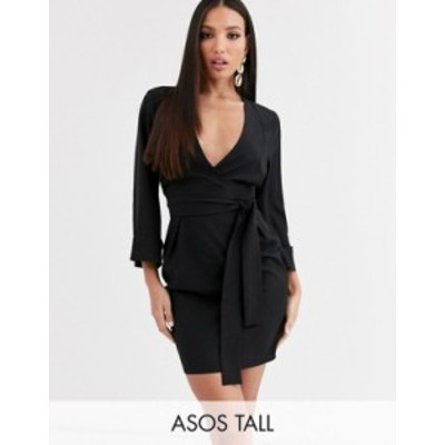 エイソス レディース ワンピース トップス ASOS DESIGN Tall kimono sleeve v neck mini pencil dress in black Black