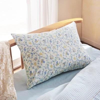 布団カバー シーツ 枕カバー ピローケース フラワー柄ファスナー式枕カバー カラー サックス