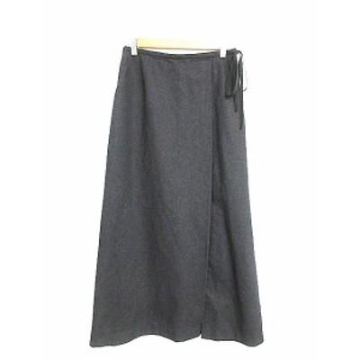 【中古】コムサ COMME CA スカート フレア マキシ ロング スリット リボン 11 チャコール /AAM28 レディース