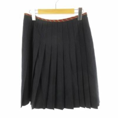 【中古】ロイスクレヨン Lois CRAYON ロングスカート ギャザー ストライプ 紺 ネイビー ウール混 M ボトムス レディース