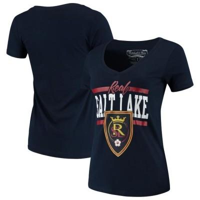 レディース スポーツリーグ サッカー Real Salt Lake Mitchell & Ness Women's MVP Bar Graphic T-Shirt - Navy Tシャツ