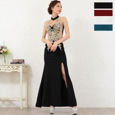 ドレス レディース ロングドレス 送料無料 超豪華刺繍セクシー大胆スリット入りマーメードラインストレッチロングドレス