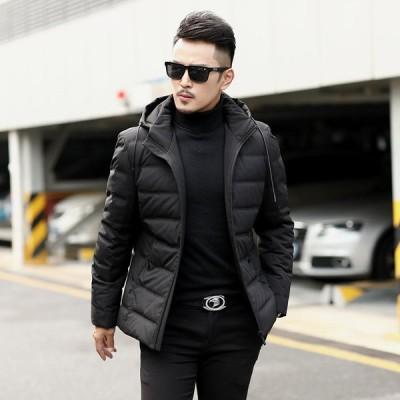 ダウンジャケット メンズ ブルゾン メンズアウター カジュアル 防寒 新作冬服 無地 冬用 黒 フード付き