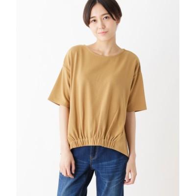 (pink adobe/ピンクアドベ)リップル素材 裾ゴム カットソー/レディース キャメル(041)