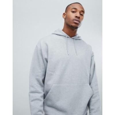 エイソス メンズ パーカー・スウェット アウター ASOS DESIGN oversized hoodie in gray marl Gray marl