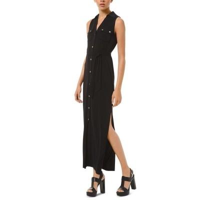 マイケルコース ワンピース トップス レディース Tie-Waist Sleeveless Shirtdress Black