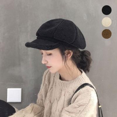 キャスケット 帽子 レディース ボア つばあり 大人 ハンチング ベレー帽 黒 ブラック ぼうし シンプル ベーシック 人気 22N72515 セール