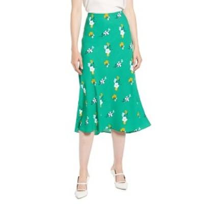 ハロゲン レディース スカート ボトムス Bias Cut A-Line Skirt GREEN C ABIGAIL FLRL