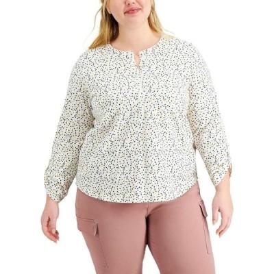 スタイル&コー Style & Co レディース トップス 大きいサイズ Plus Size Cotton Printed Top Dots White