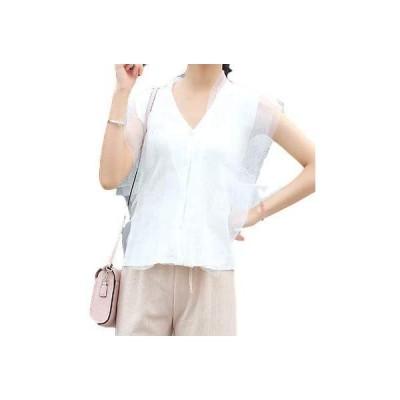 NOGIノギ ノースリーブ フェアリー ティアード ふんわり デザイン タンクトップ レディース ファッション(ホワイト Free Size)