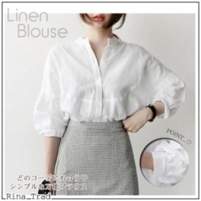 ブラウス レディース ブラウスのみ 白 シャツ オフィス フォーマル リネン素材 韓国 パフスリーブ  通勤 シンプル