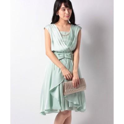 【エイミーパール バイ パウダーシュガー】巻きスカート付きラッフルリボンドレス