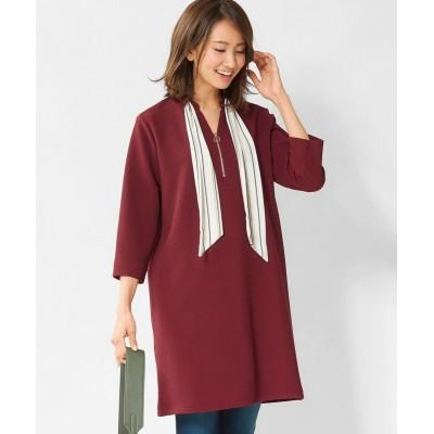 大きいサイズ スカーフ付カットソーチュニック(オトナスマイル) ,スマイルランド, plus size tops,