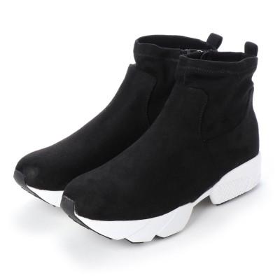 マシュガール masyugirl 4E/幅広ゆったり・大きいサイズの靴 ストレッチ素材のダッドスニーカーブーツ (ブラック) SOROTTO