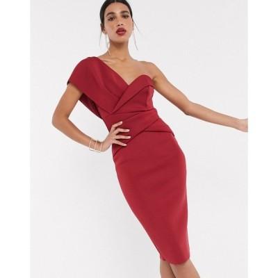 エイソス レディース ワンピース トップス ASOS DESIGN one shoulder cross over pencil midi dress in oxblood Oxblood
