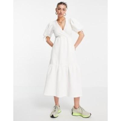 リバーアイランド レディース ワンピース トップス River Island textured wrap midi dress in white White