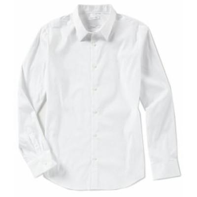 カルバンクライン メンズ シャツ トップス Slim-Fit Solid Stretch Long-Sleeve Woven Shirt Standard White