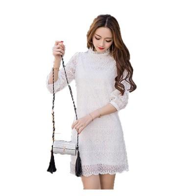 パーティードレス 予約 異素材切替 スリーム効果 ドレス ワンピース黒白S-5L LSFS-98595   送料無料