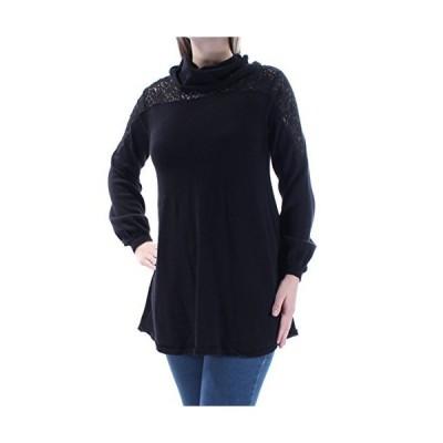 Style & Co. Womens Knit Lace Yoke Pullover Sweater Black L並行輸入品 送料無料