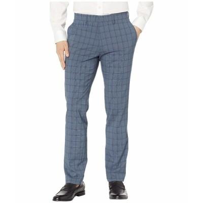 ケネスコール カジュアルパンツ ボトムス メンズ Stretch Bold Plaid Slim Dress Pants Dark Blue