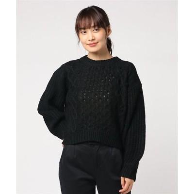 ニット ボリュームスリーブカシミアタッチポップコーンプルオーバーケーブル編みニットセーター