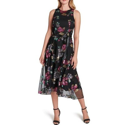 タハリエーエスエル  レディース ワンピース トップス Floral Sequined Lace Cutaway Shoulder Tie Waist Midi Dress