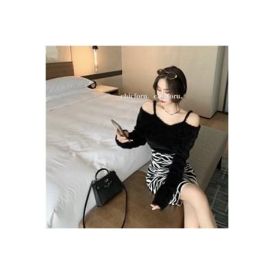 【送料無料】襟 単語 肩 ミニ丈 着やせ 水 尾 絨毛 洋服 女 秋冬 インナ   346770_A63775-4503504