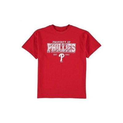 野球 MLB スティッチ Stitches Philadelphia Phillies Youth Red Property Of Team T-Shirt