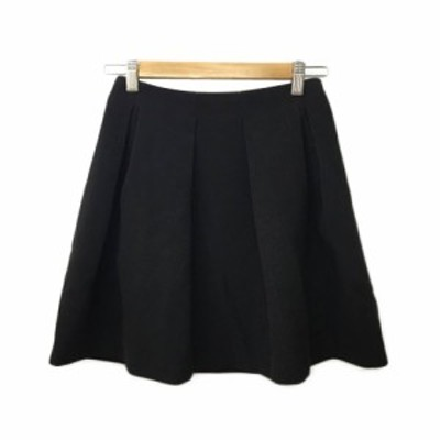 【中古】アンレリッシュ UNRELISH スカート フレア ミニ タック 無地 M 黒 ブラック レディース