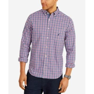 nautica ノーティカ ファッション アウター Nautica Mens Blue Red Large L Plaid Pocket Classic Button Down Shirt