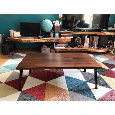 〓栄町工房〓 集成材ローテーブル 折りたたみ 角脚 ブラウン