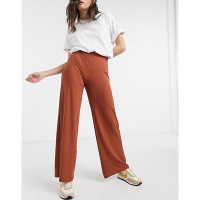 ニュールック New Look レディース ボトムス・パンツ Ribbed Full Leg Trouser In Rust ラスティック