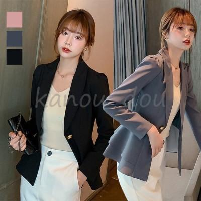 韓国風新作スーツ レディース スーツジャケット 20代30代40代細身 春秋長袖事務服 フォーマル 面接 制服OL ビジネス 通勤 上着 3色