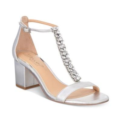 バッジェリー ミシュカ Jewel Badgley Mischka レディース サンダル・ミュール シューズ・靴 Lindsey Block-Heel Evening Sandals Silver Metallic