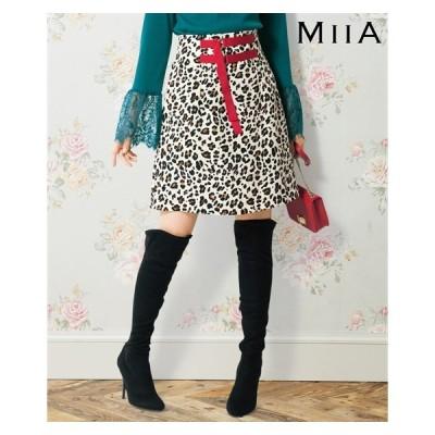 スカート ミニ 大きいサイズ レディース ウエスト デザイン レオパード柄 ゆったりヒップ MIIA 73/76/80 ニッセン