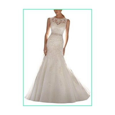 H.S.D Women's Mermaid Beads Lace Appliques Long Wedding Dress Bridal Gown並行輸入品