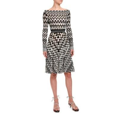 ミッソーニ レディース ワンピース トップス Optical Chevron Knit Long-Sleeve Dress