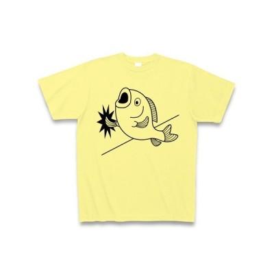 壁ドン魚 Tシャツ(ライトイエロー)